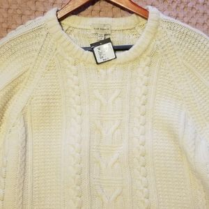 Club Monaco Ivory Fisherman Cable Crew